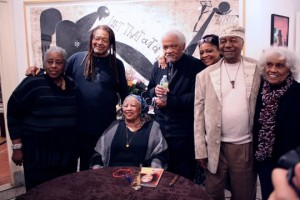 Toni Morrison surrounded by Loretta Dumas,  Quincy Troupe, Ishmael Reed, Margaret Porter and Eugen Redmon